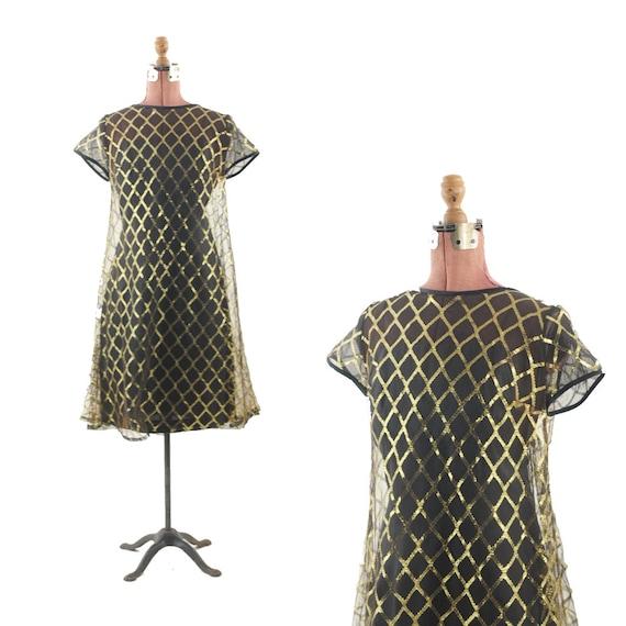 Vintage 1960's Black Metallic GOLD Sheer  A-Line Sweep Mini Dress S