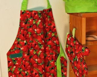 Child's Apron, Red Strawberries Apron