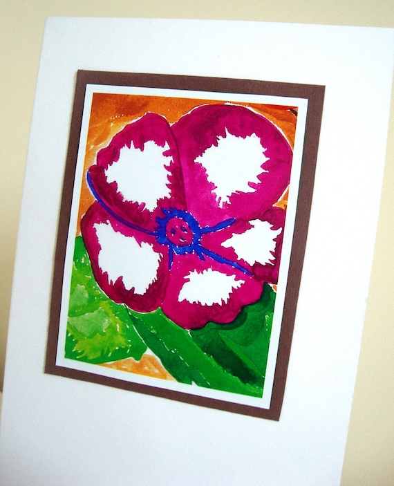 Violet Flower Art Print White Eco Friendly Blank Greeting Card - 'Blossoming True'