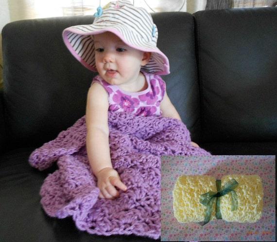 "Safest Crocheted Yellow Soft Travel Hug & Go Baby Blanket Stroller Carseat Bassinet Med 28"" Quality ROCKVALE MOUNTAIN Babys Breath NEW"