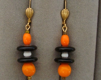 """Glass Bead ear drops, About 2"""" drop with guarded wire hoops."""