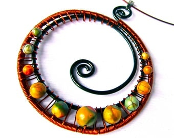 """Antique Copper Wire Wrapped Spiral Pendant with Red Creek Jasper or """"Picasso"""" Stone Beads on a Brown Nylon Choker Cord"""