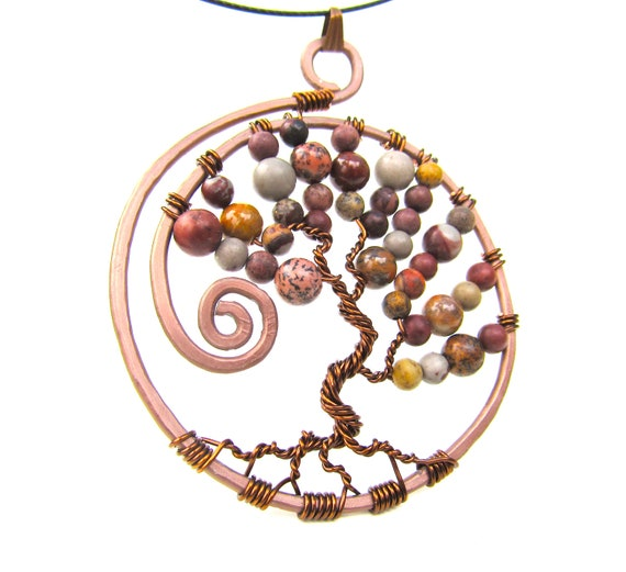 Tree of Life Necklace,  Crazy Horse Jasper Stone Beads, Light Brown and Dark Brown Wire on a Brown Choker Cord Necklace