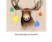 Handmade Christmas Card Christmas Moose Multi colored Christmas Ornaments blank cards 6 Pack
