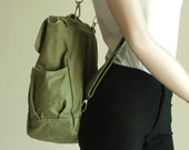 Sale SALE SALE 40% - BackPack, Pico2, Dark Green, Convertible Backpack, Satchel, Rucksack Backpack, School Backpack, Canvas Backpack