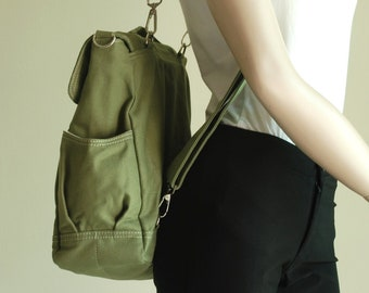 Sale SALE SALE 40% - BackPack, Pico2, Dark Green, Convertible Backpack, Satchel, Rucksack Backpack, School Backpack, Canvas Backpack