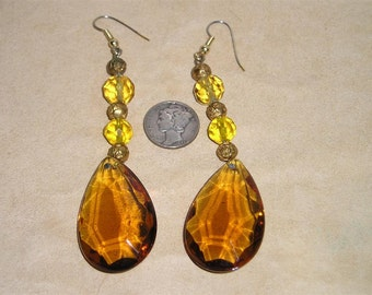 Vintage Dangle Earrings Yellow And Whiskey Colored Glass Pierced 1960's Jewelry 2302