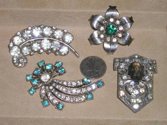 Vintage Rhinestone Brooch & Dress Clip Lot 1930's - 1940's Jewelry 2145