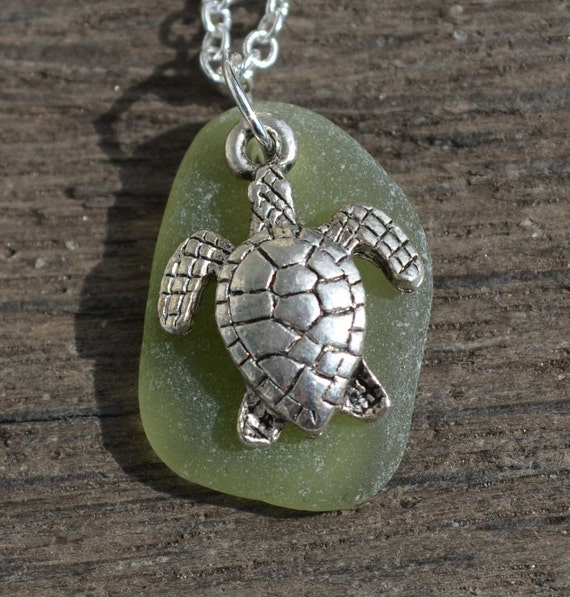Jersey Shore Sea Glass Jewelry Necklace with Silver Sea Turtle - HELPS DISASTER RELIEF