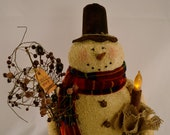 Primitive Fabric Stuffed Snowman with candle for Winter Decor