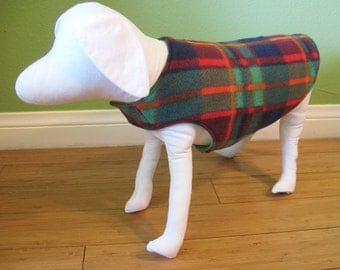 Fleece Dog Coat, Extra Small, Green, Orange, Blue and Red Plaid Fleece with Green Fleece Lining