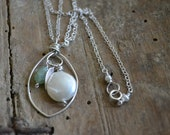 Silver, Pearl, Aqua, Feather Necklace