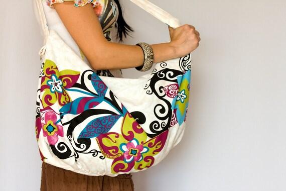 Everyday Handbag, Large Floral Purse, Colorful Blue Flowers Shoulder Bag with Make Up clutch oht