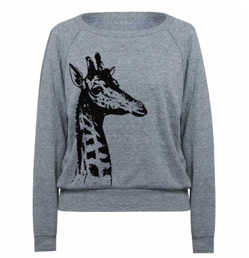 Women S Sweater Giraffe Pullover Sweatshirt Raglan By