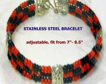 "Santeria Yoruba 3- wire  Bracelet  iDDE for Orishas. Pulsera ""ilde"" de metal  para  Orishas."