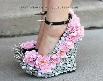 Floral Rhinestone Studded Spike Wedge Shoes in Pink or Red  Roses 5 1/2 inch heels w/thin straps, wedding shoes, bridal shoes, maid of honor