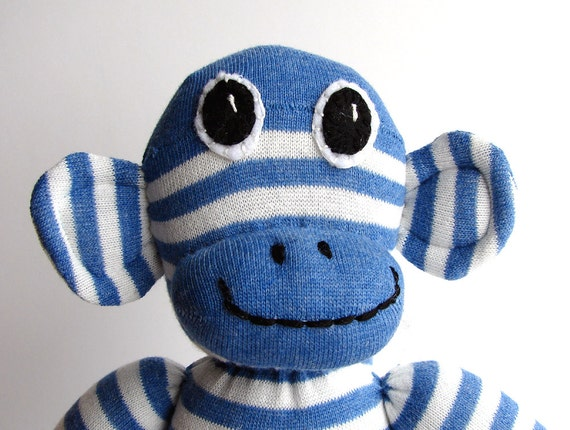 Stan the SOCK MONKEY Handmade Soft Cuddly Cute Adorable Wee Critter Boy's Birthday Gift
