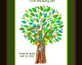 Wedding Guest Book Alternative Hoos in Love - Signature Tree Poster, 13x19 Guestbook