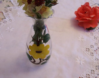 Vintage  Flower Vase Vintage Hand Painted Sunflower