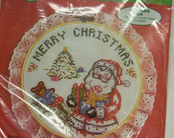Christmas Cross Stitch Kit with Santa Claus 1986 Colortex Santa Claus Craft Kit for Christmas Time Project Stitch Santa Claus