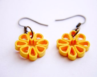 Melon Square Flower Paper Quilled Earrings