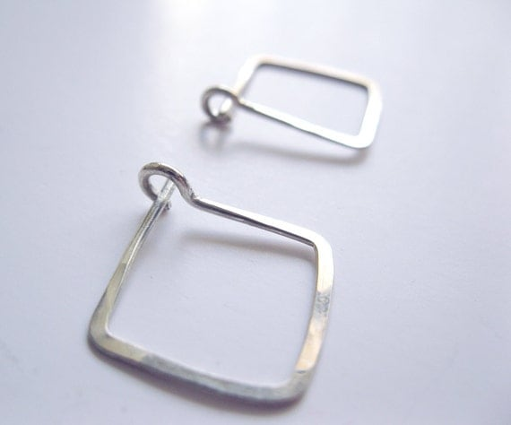 Silver Square Earrings - Small Hoop Earrings - Contemporary Modern Mininal - Hammered Sterling Silver, Gift Idea, Wedding Gift, Holiday Gift