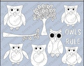 Owls Rule Digital Stamp - Black and White Clipart - Digital Scrapbooking, Owl Clipart