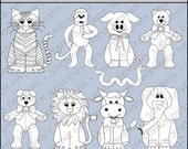 Critters Animals Digital Stamp - Black and White Clipart - Digital Scrapbooking, Animal Clipart