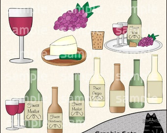 A Little Vino Clipart and Graphic Set, Cocktail Clipart, Happy Hour Clipart, Beverage Clipart - Digital Scrapbooking Kit