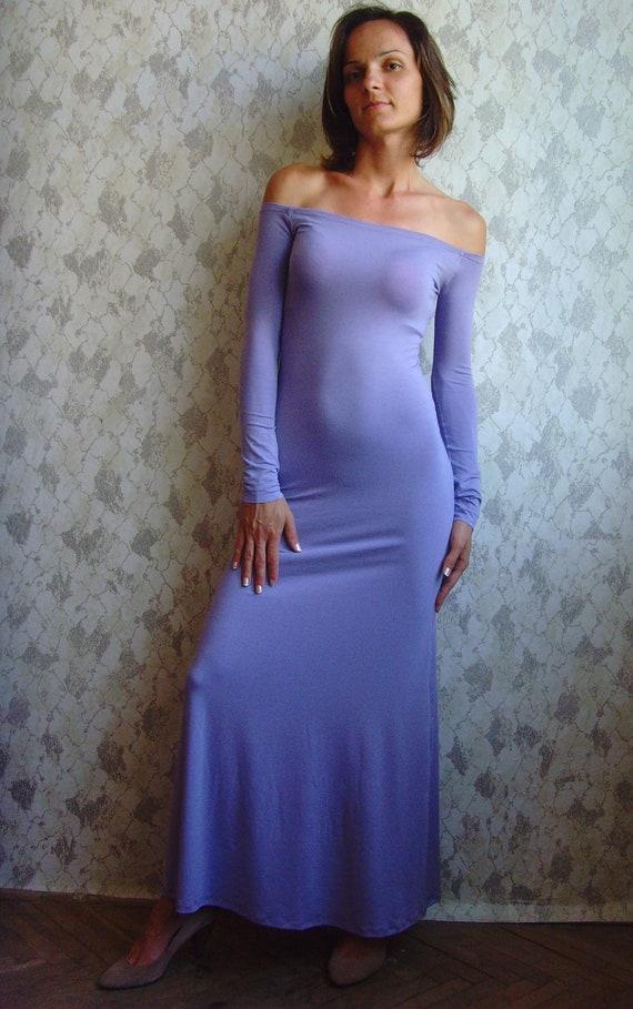 OFF The Shoulder Dress MAXI DRESS Floor Lenght Dress Lilac