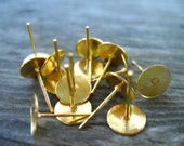 200 pairs Gold Post Earrings with 8mm Glue Pads Gold Plated Nickel Free