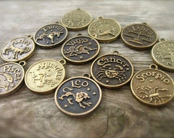 24 Bronze Zodiac Charms 18mm Antiqued Bronze 2 Of Each Zodiac Sign