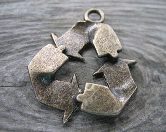 8 Bronze Recycle Charms 29mm 1.1 inches Recycle Reuse Reduce