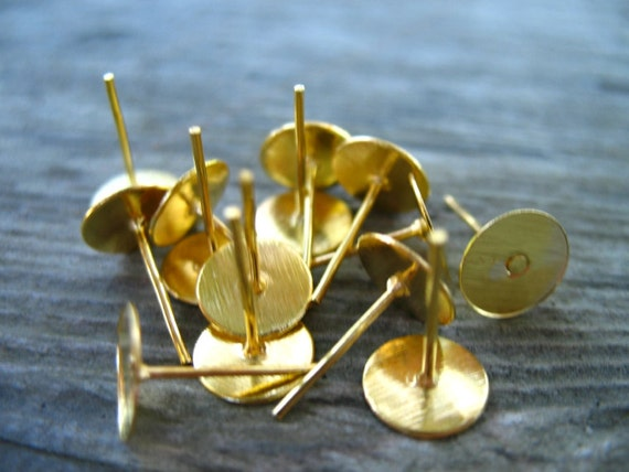 50 Pairs Gold Post Earrings With 8mm Flat Pad  Nickel Free