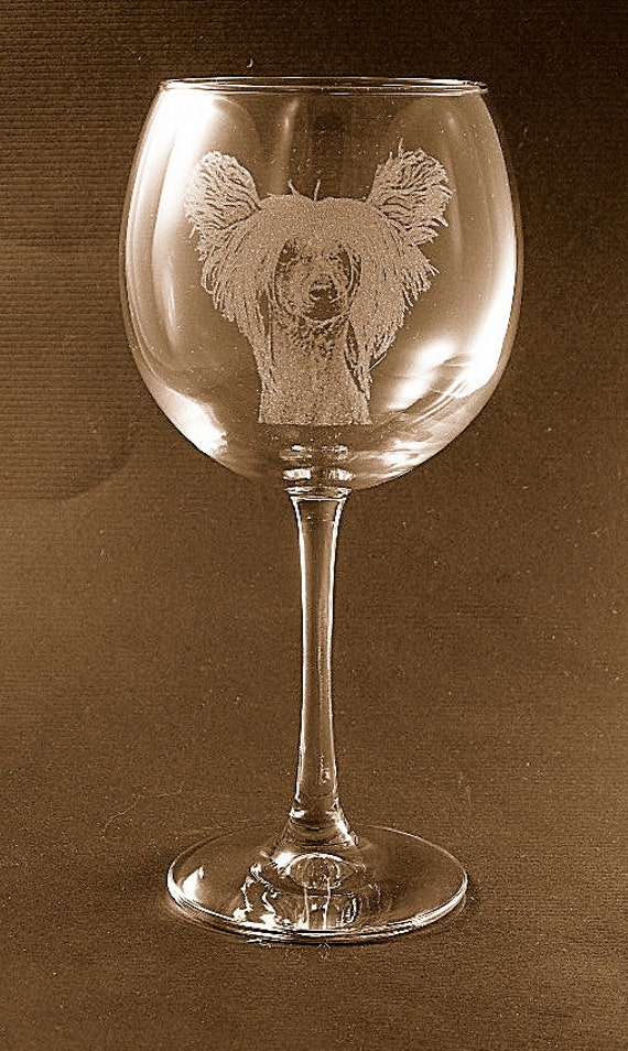Etched Chinese Crested on Large Elegant Wine Glass (set of 2)