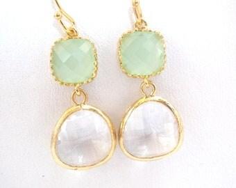 Glass Earrings, Clear Earrings, Crystal Earrings, White, Mint Earrings, Green, Gold, Wedding, Bridesmaid Earrings, Bridesmaid Gifts