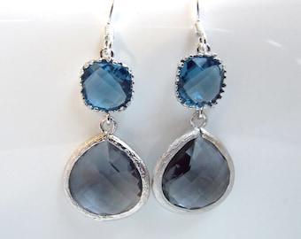 Gray Earrings, Blue Earrings, Grey Earrings, Charcoal, Deep Blue, Wedding, Bridesmaid Earrings, Bridal Earrings Jewelry, Bridesmaid Gifts