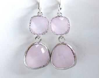 Pink Earrings, Glass Earrings, Silver Earrings, Ice Pink, Light Pink Wedding, Bridesmaid Earrings, Bridal Earrings Jewelry, Bridesmaid Gift