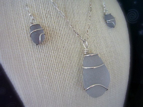 Seaglass Jewelry Necklace and Earrings - EXTREMELY RARE Grey / Gray - Genuine Sea Glass Jewelry Set