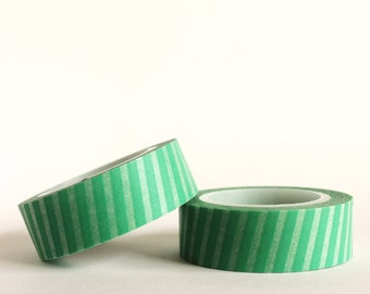 Sage Green Diagonal Stripes Washi Tape