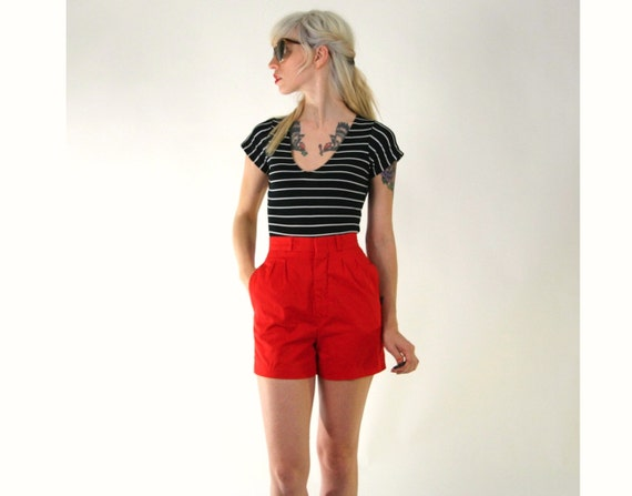 Red High Waisted Shorts Vintage Small