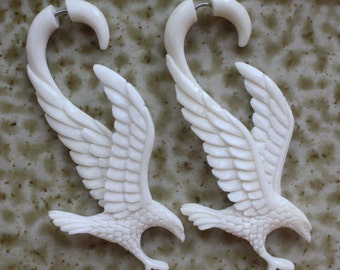 Hand Carved Fake Gauges - OREL Eagle Earrings - Natural White Bone - Bird Design