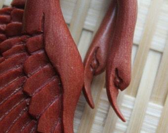LATA Swan - Fake Gauge Earrings - Natural Tan Saba Wood - Hand Carved Jewelry