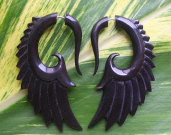 Hand Carved Organic Fake Gauges - BRAVE Wing Earrings - Natural Black Horn