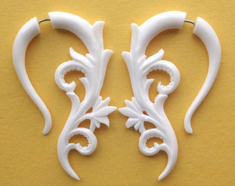 Natural White Bone Fake Gauges - KAVITA Earrings - Hand Carved Flowers