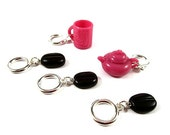 Knitting Stitch Markers - Set of 5 - Coffee Beans - Pink Mug and Kettle