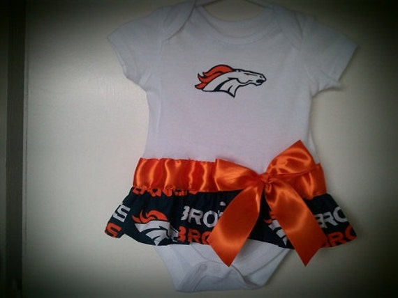 Denver Broncos inspired baby girl outfit