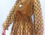 Orig 70s cotton gauze GYPSY maxi dress // ethnic print // Empire fit