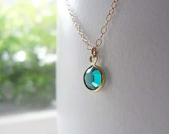 Crystal Birthstone Necklace - Petite Colored Stone in Silver or Gold - 1402