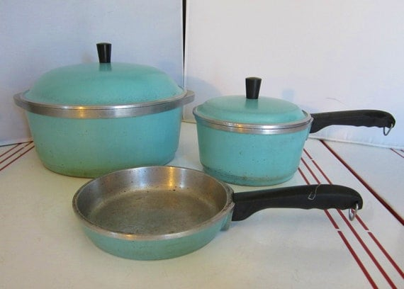 Vintage Aqua Club Cookware 1940s 1950s 5 Piece Set Aluminum